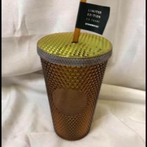Starbucks Tumbler 50th Anniversary Gold Studded 16oz Iridescent Limited Edition